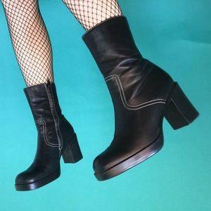 efd28ecec295 Vintage · 90s chunky leather platform booties. ...